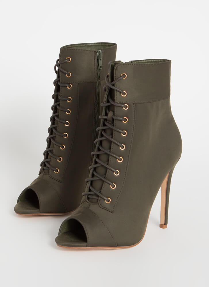 Everything Lace-Up Peep-Toe Booties OLIVE