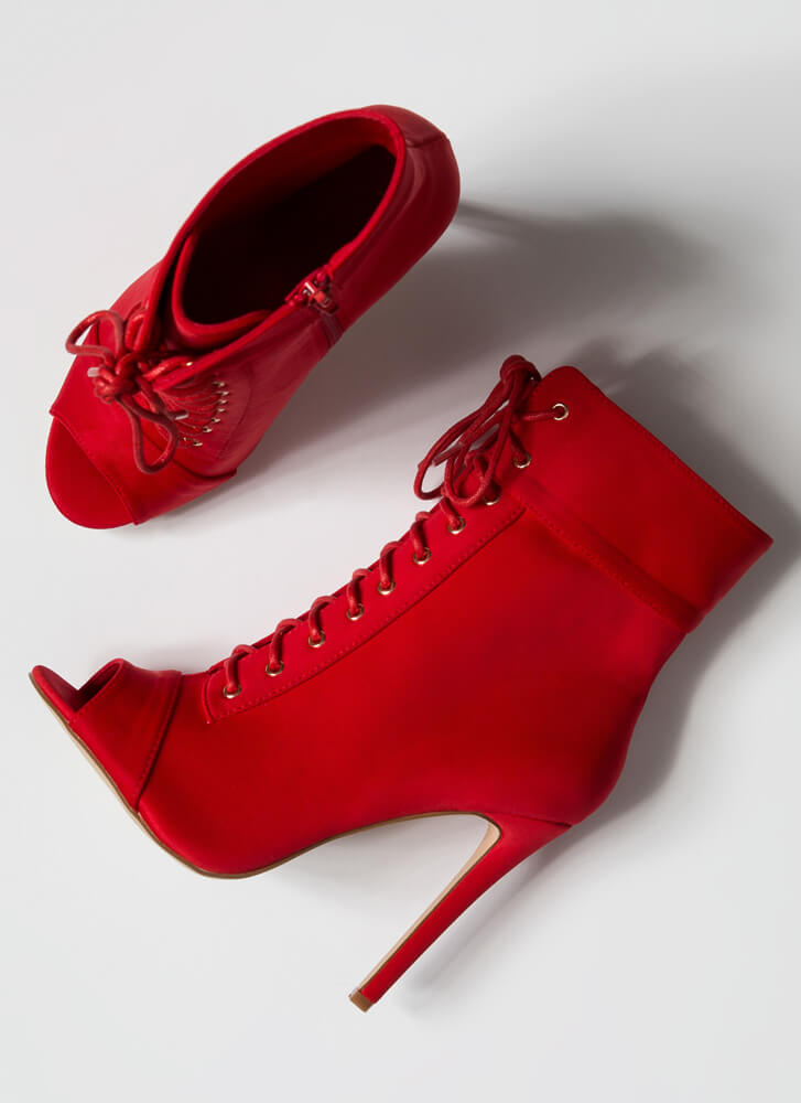 Everything Lace-Up Peep-Toe Booties RED
