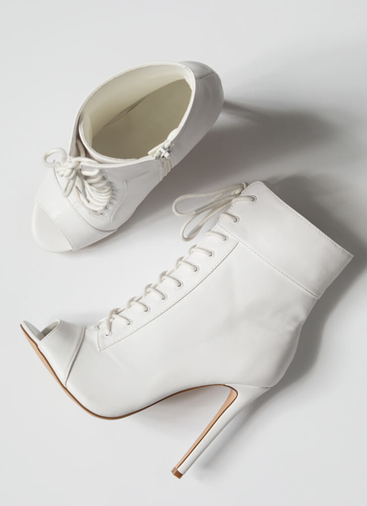 Everything Lace-Up Peep-Toe Booties WHITE