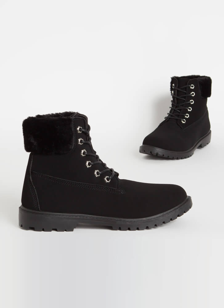 Out In The Cold Fur-Cuffed Boots BLACK