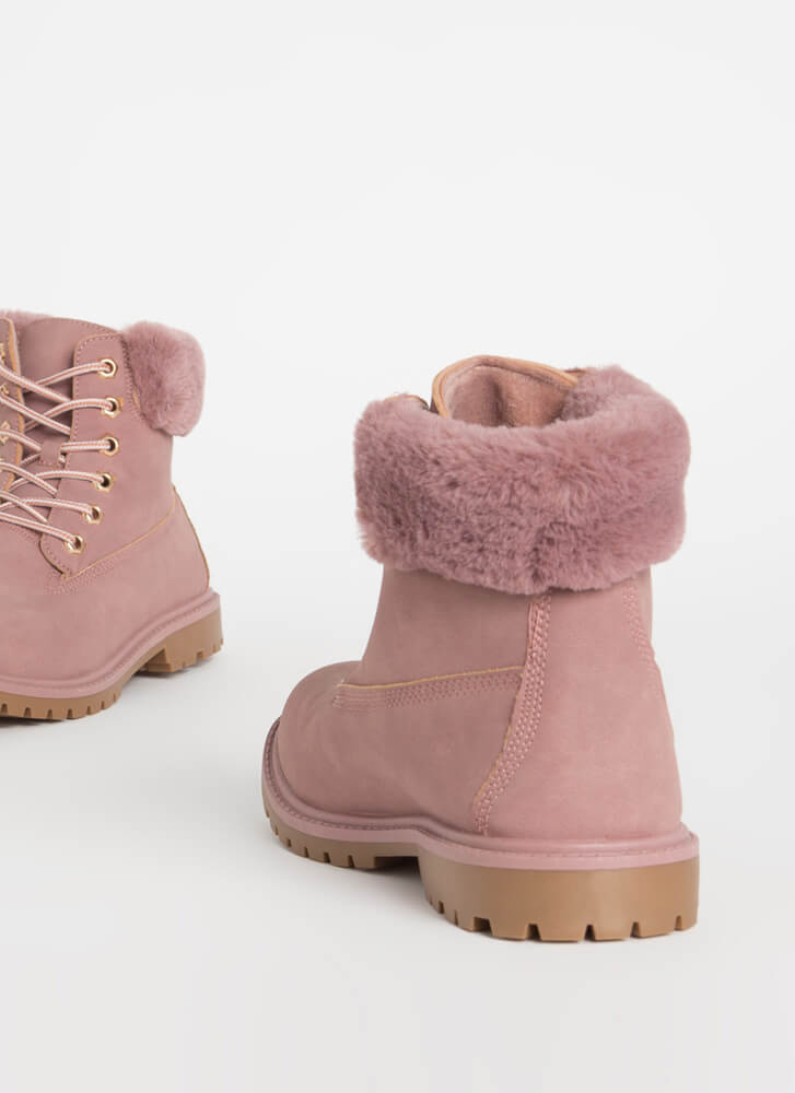 Out In The Cold Fur-Cuffed Boots BLUSH