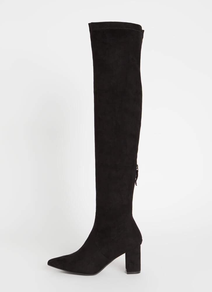 Flawless Chunky Pointy Thigh-High Boots BLACK