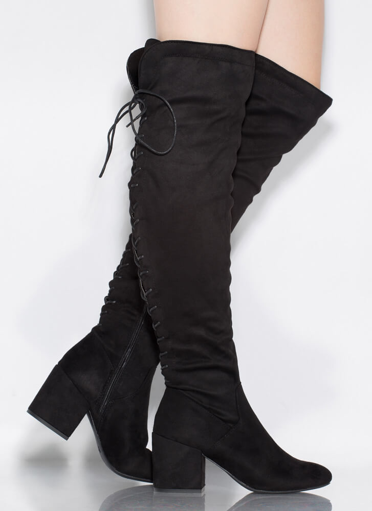 Blocked You Lace-Back Thigh-High Boots BLACK