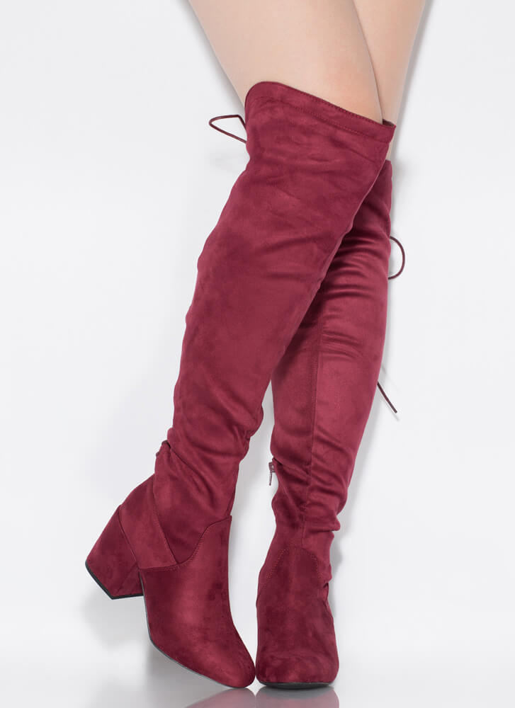 Blocked You Lace-Back Thigh-High Boots BURGUNDY