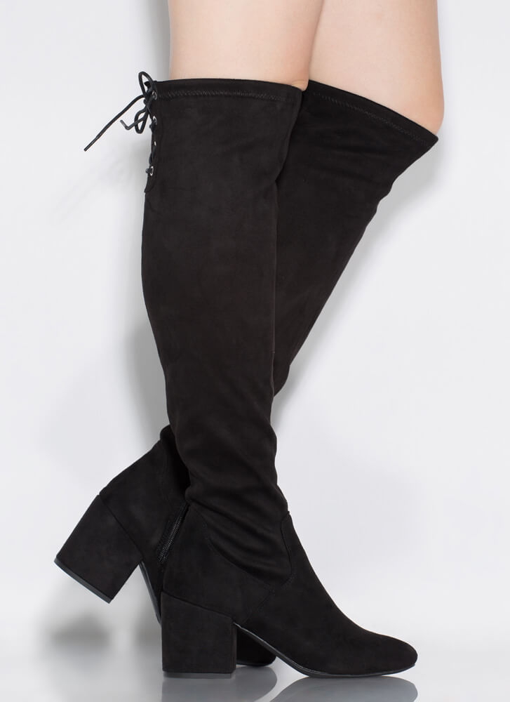 Tied Game Lace-Back Thigh-High Boots BLACK