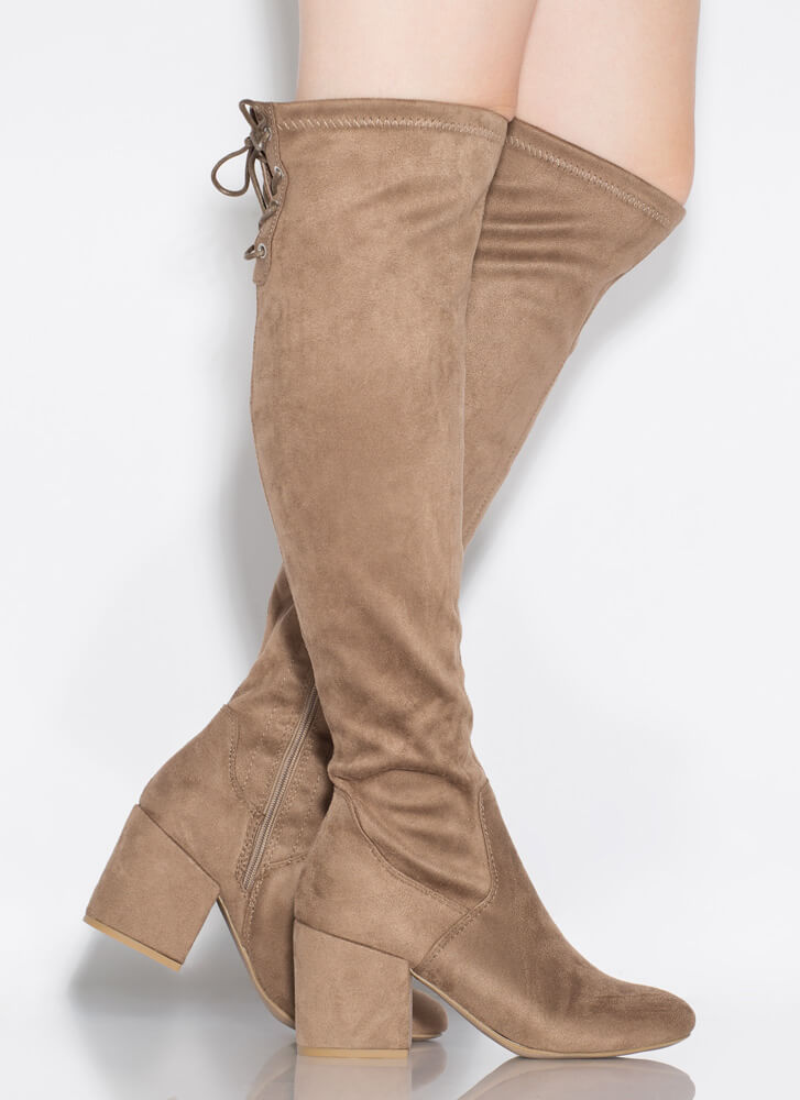 Tied Game Lace-Back Thigh-High Boots TAUPE