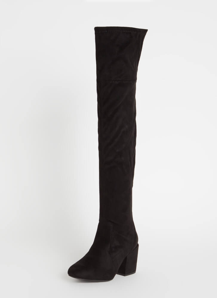 Around The Block-Heel Thigh-High Boots BLACK