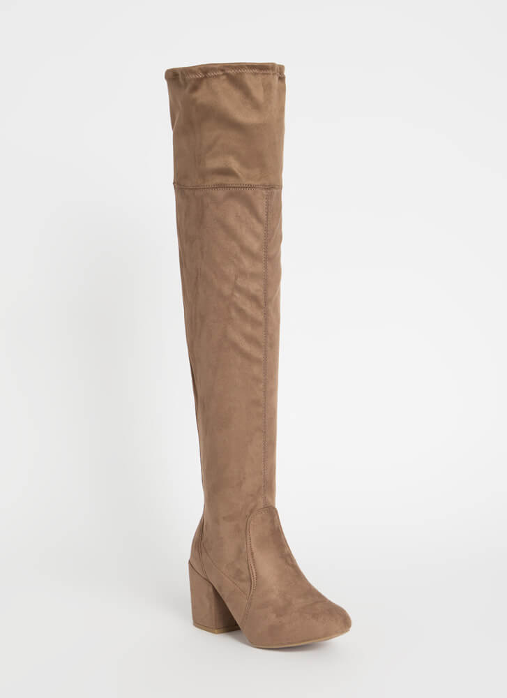 Around The Block-Heel Thigh-High Boots TAUPE
