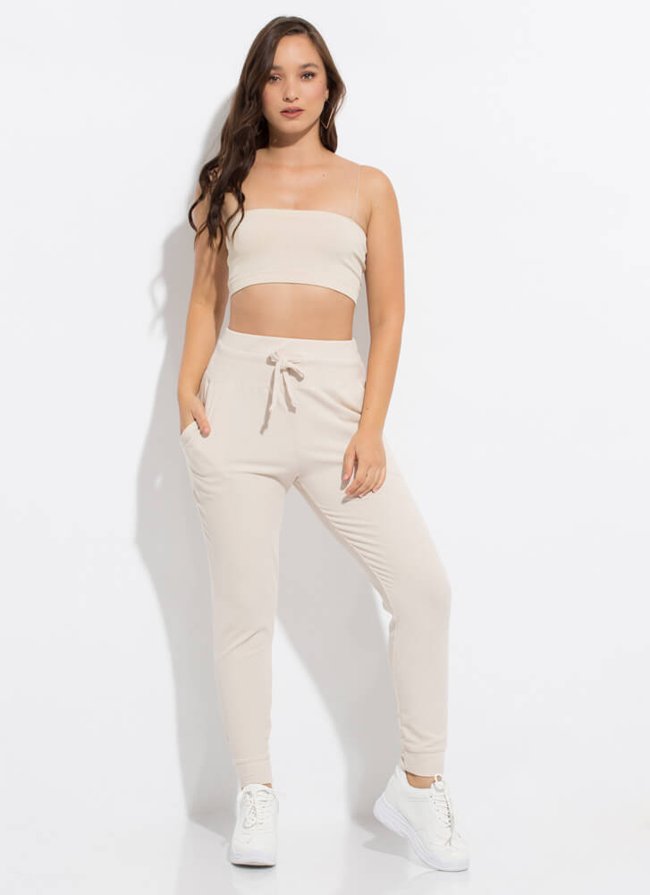 Bandeau Beauty Cropped Rib Knit Tank Top NATURAL