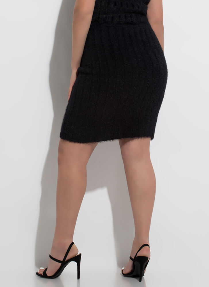 My Memory Is Fuzzy Faux Mohair Skirt BLACK