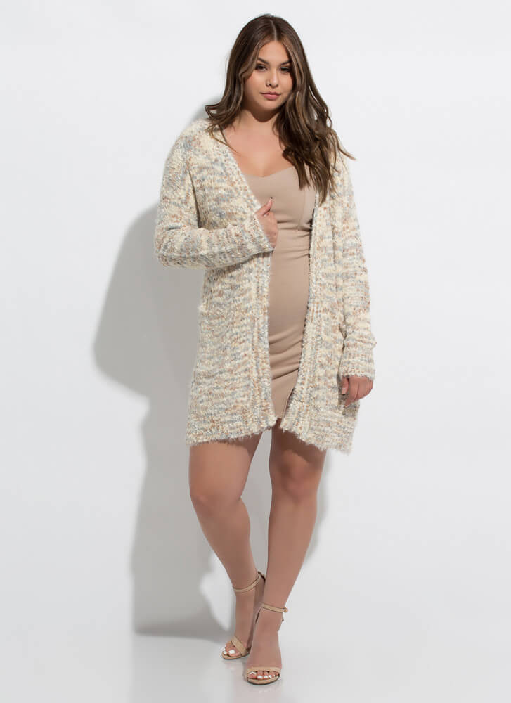My Mottle In Life Fuzzy Knit Cardigan CREAMMULTI