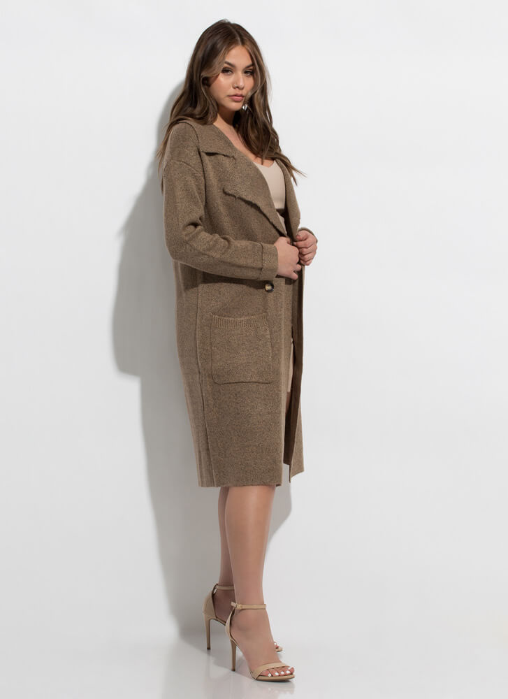Out With The Cold Sweater-Knit Coat BROWN