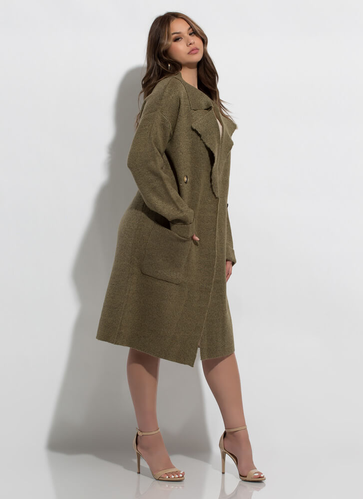 Out With The Cold Sweater-Knit Coat OLIVE