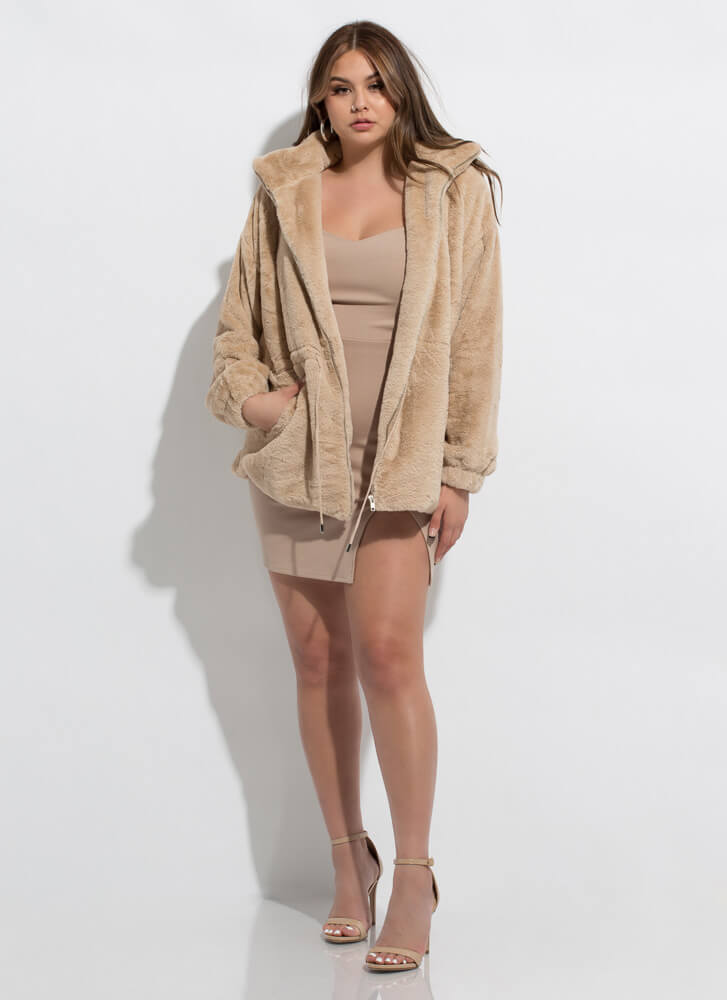 It's A Cinch Faux Fur Drawstring Jacket BEIGE