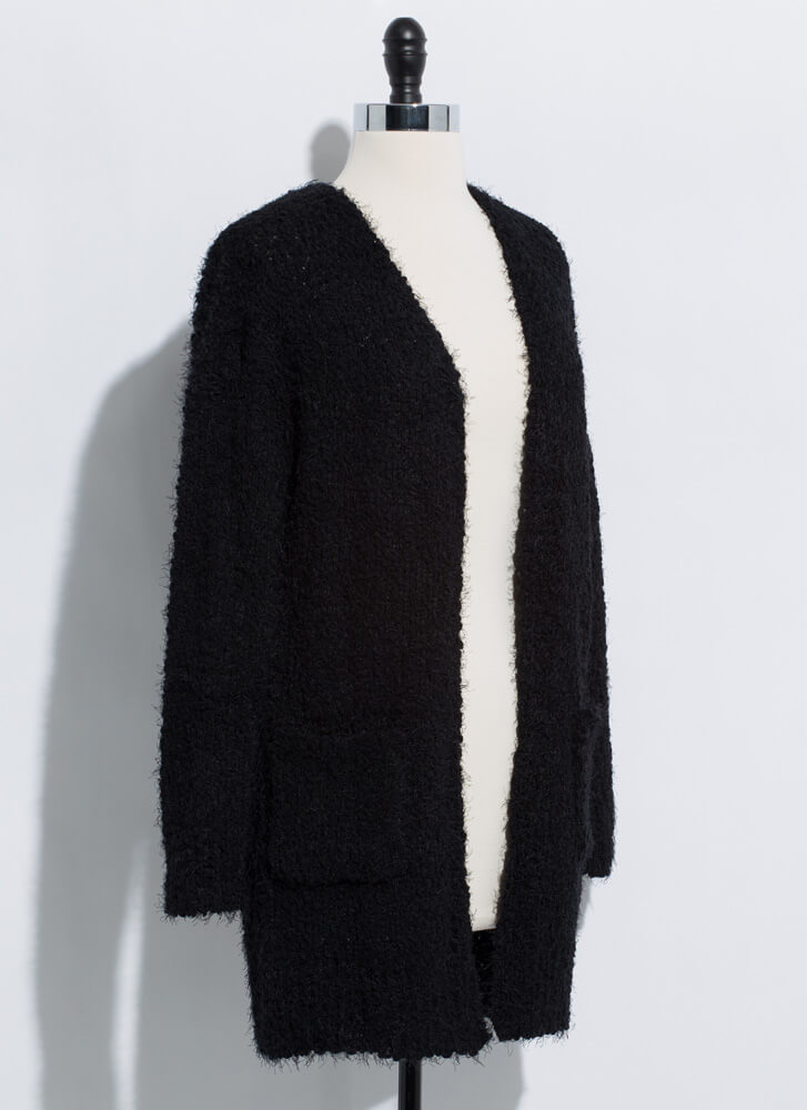 Long For Warmth Fuzzy Knit Cardigan BLACK