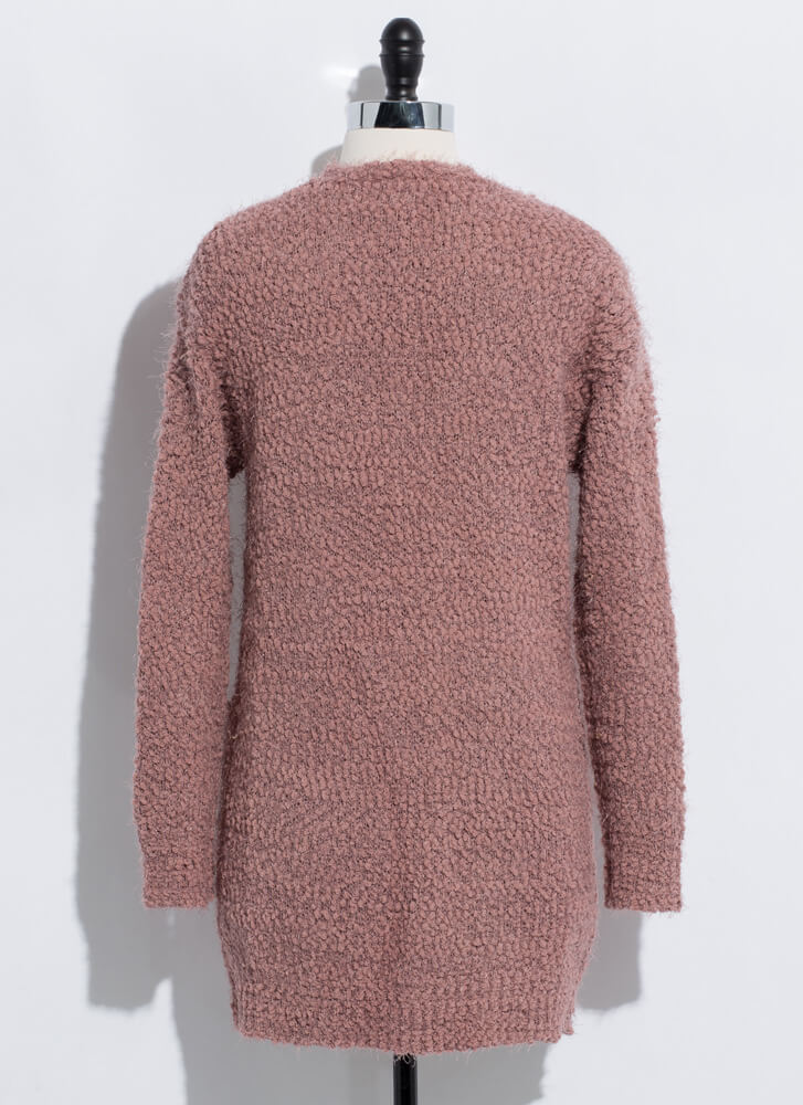 Long For Warmth Fuzzy Knit Cardigan MAUVE