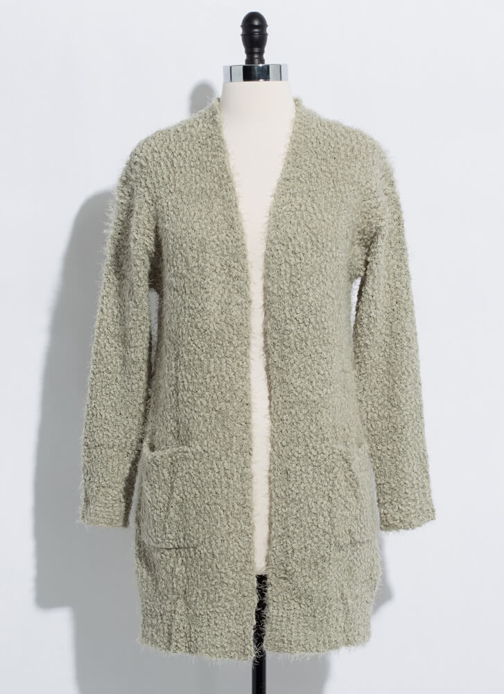 Long For Warmth Fuzzy Knit Cardigan MOSS