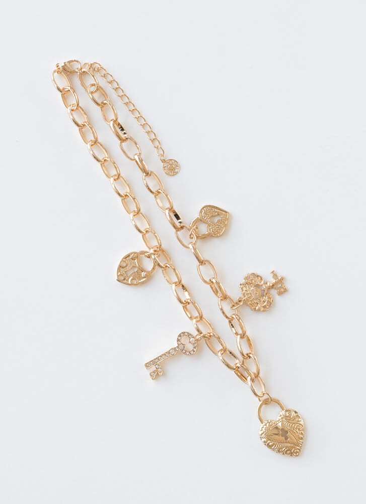 Key To My Heart Jeweled Charm Choker GOLD