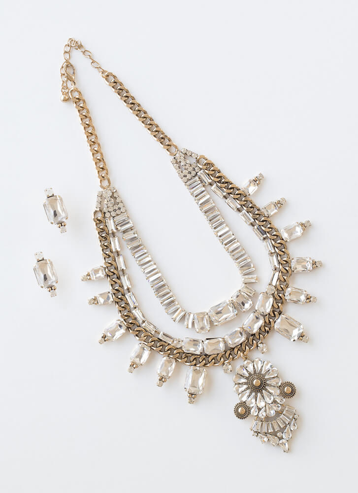 Bold Statement Jeweled Necklace Set GOLD