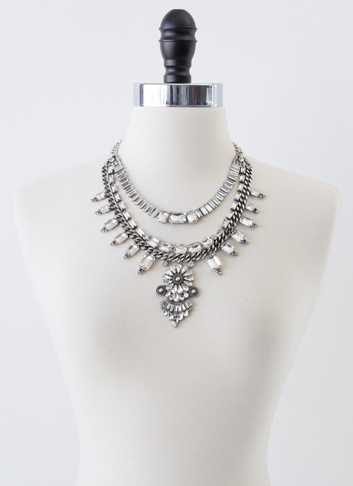 Bold Statement Jeweled Necklace Set SILVER