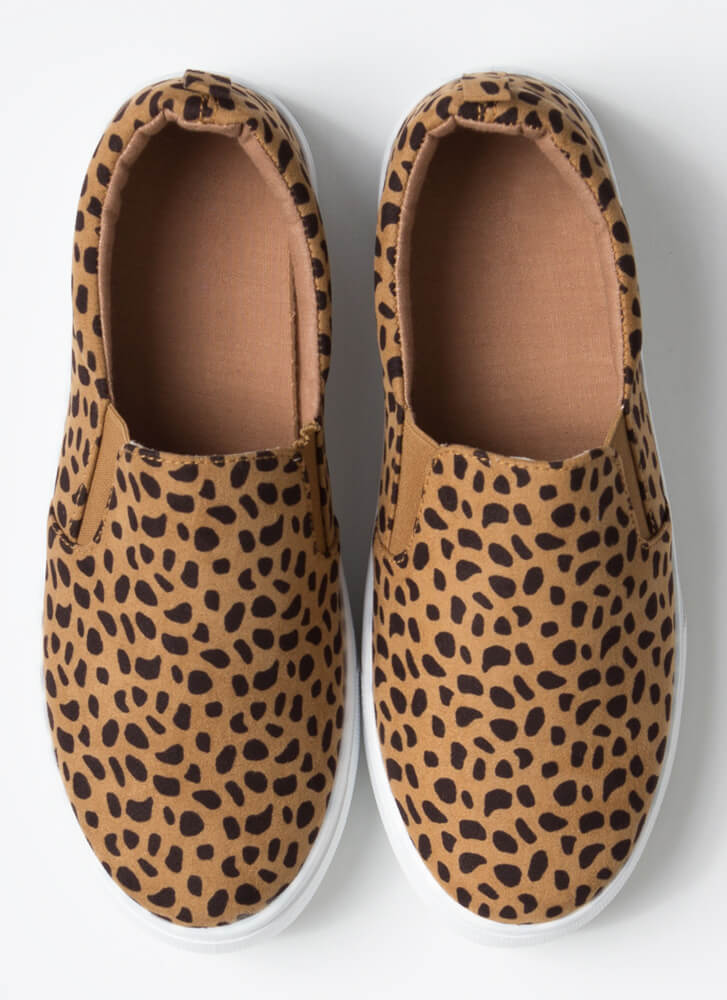 It's Easy Faux Suede Slip-On Sneakers CHEETAH