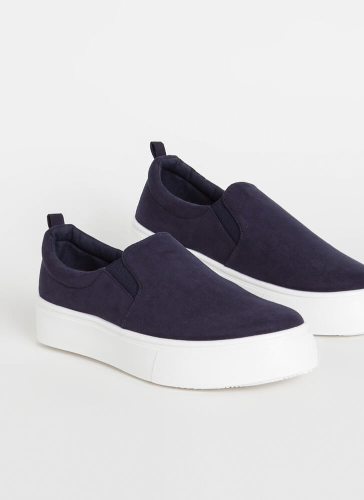 It's Easy Faux Suede Slip-On Sneakers NAVY