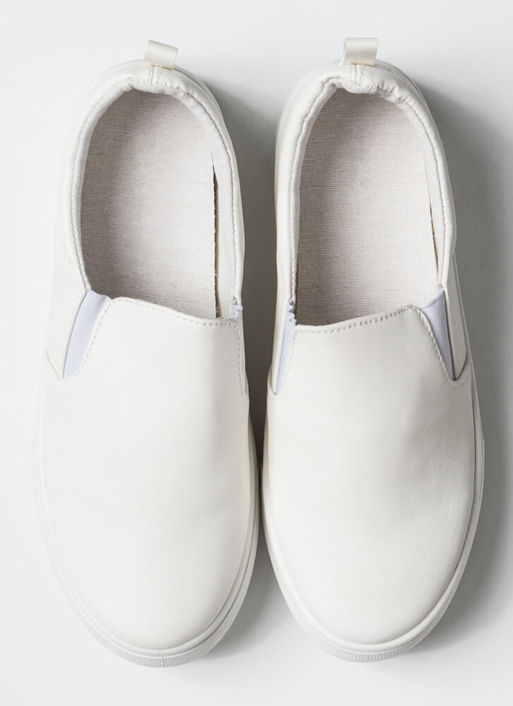 It's Easy Faux Leather Slip-On Sneakers WHITE