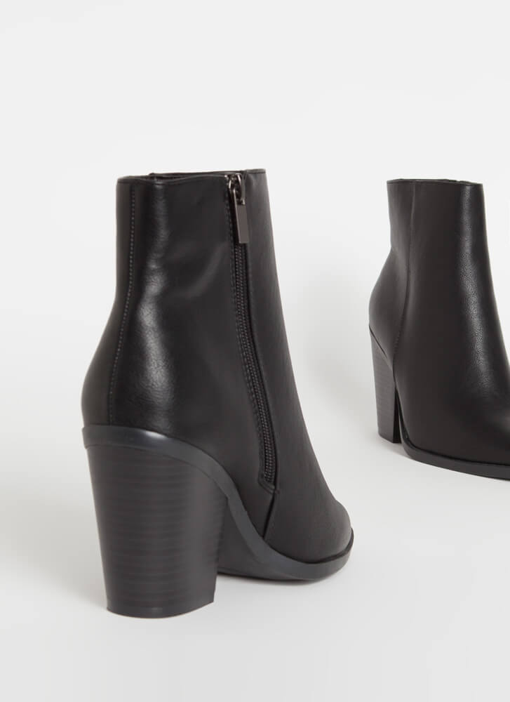 West End Chunky Faux Leather Booties BLACK