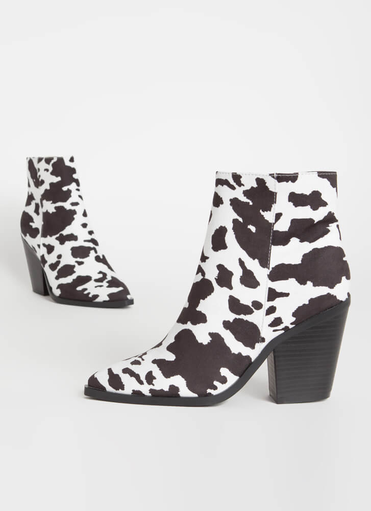 West End Chunky Faux Suede Booties COW