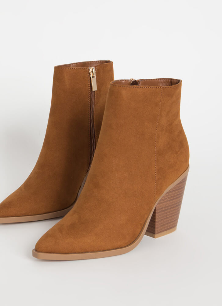 West End Chunky Faux Suede Booties TOBACCO