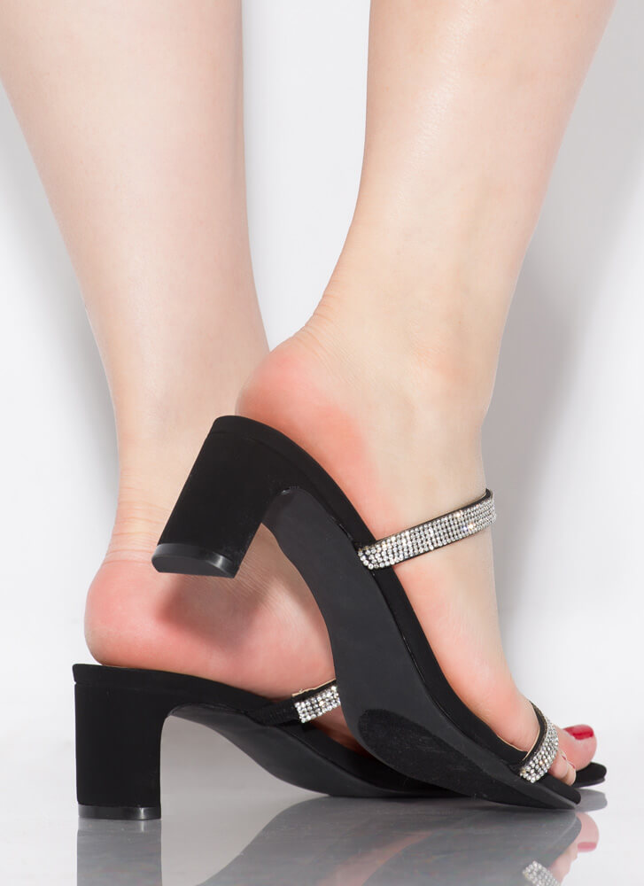 The Low-Down Strappy Jeweled Heels BLACK