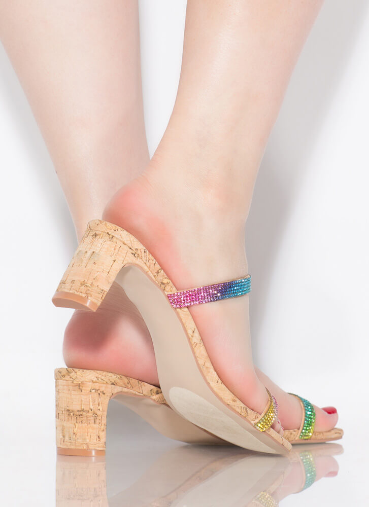 The Low-Down Strappy Jeweled Cork Heels NATURAL
