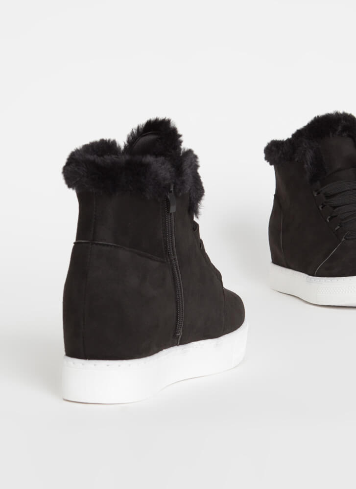 Furry Along Faux Suede Wedge Sneakers BLACK