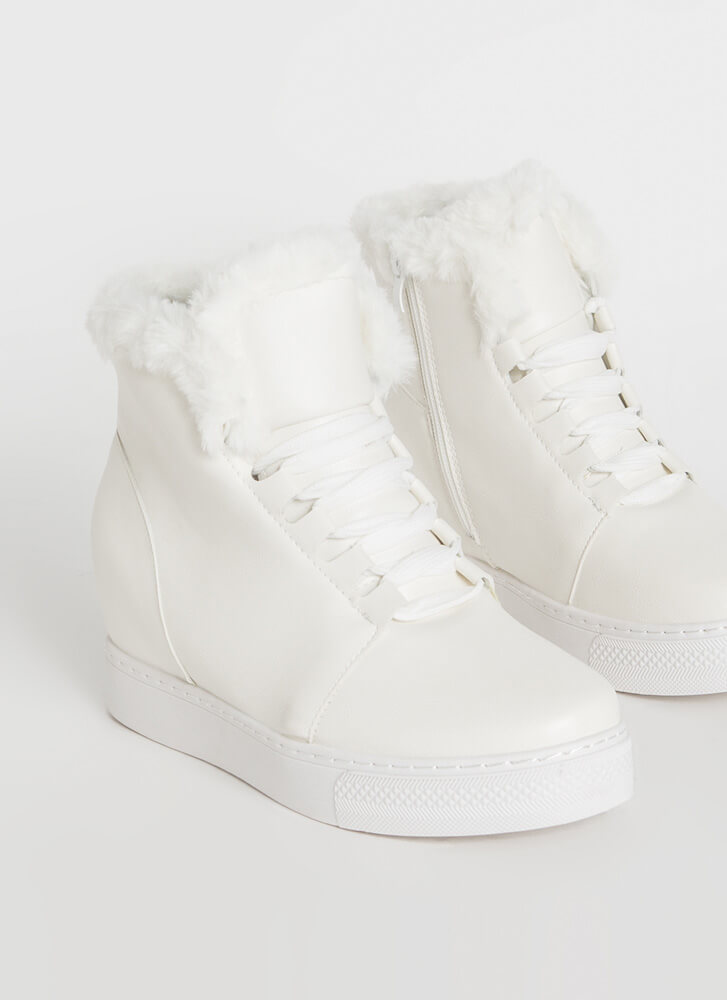Furry Along Faux Leather Wedge Sneakers WHITE