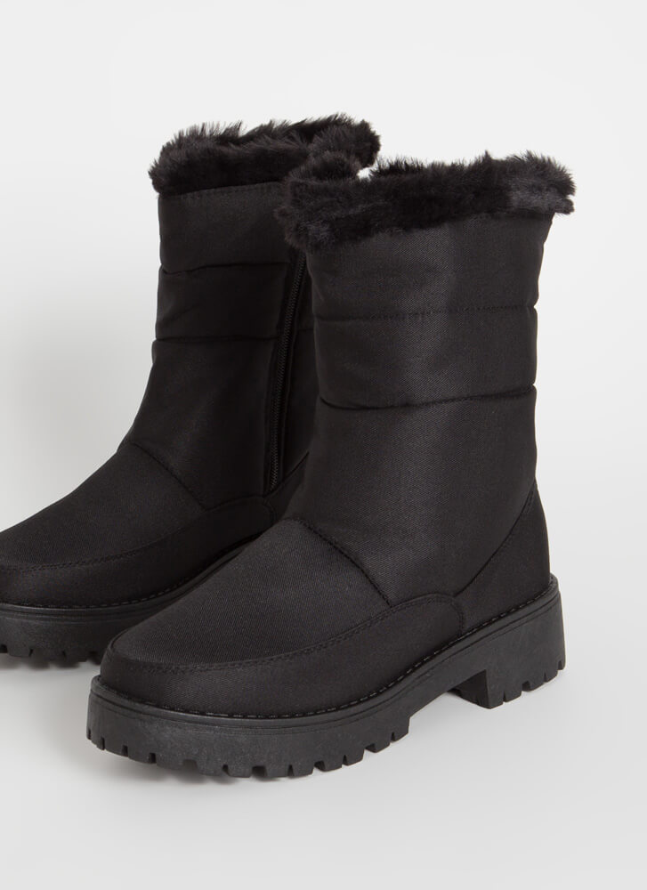 Cold Day Out Fur-Trimmed Nylon Boots BLACK