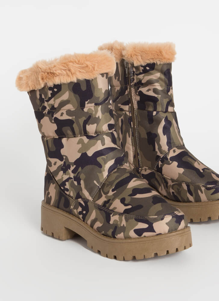 Cold Day Out Fur-Trimmed Nylon Boots CAMO
