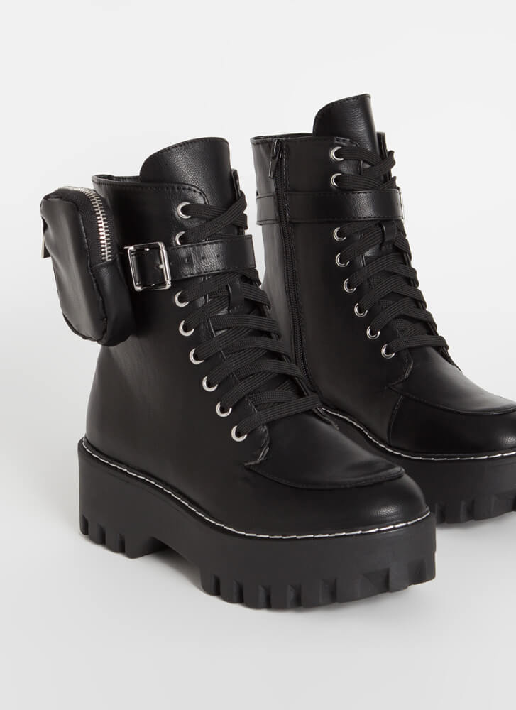 Pouch For You Ankle Strap Combat Boots BLACK