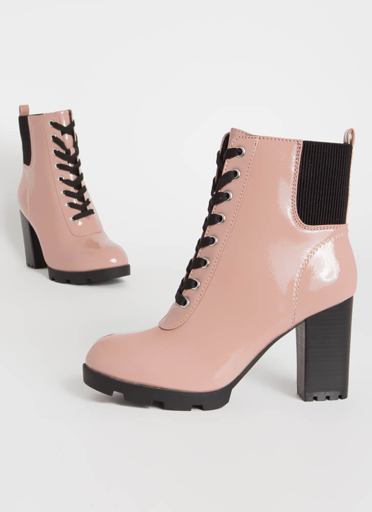 Signature Look Chunky Lace-Up Booties BLUSH