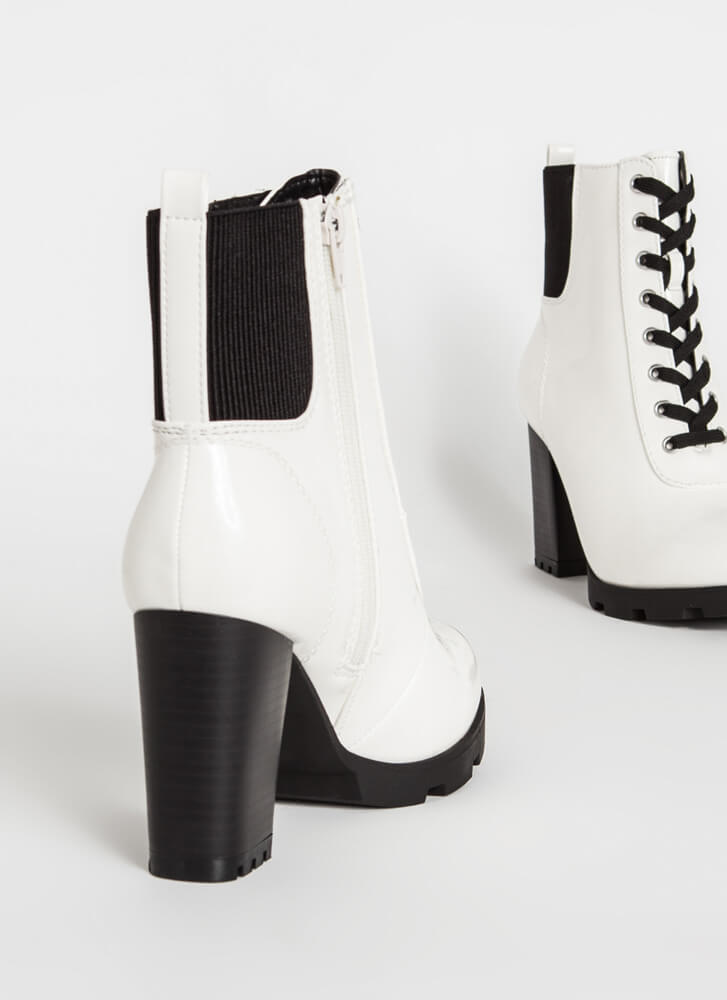 Signature Look Chunky Lace-Up Booties WHITE