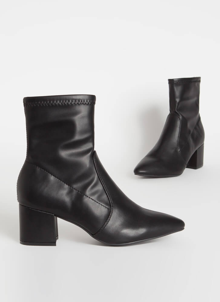 So Done Faux Leather Block Heel Booties BLACK