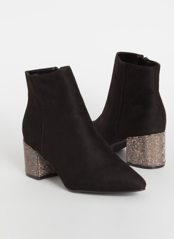 Sparkly One Jeweled Block Heel Booties BLACK