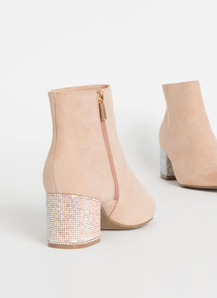 Sparkly One Jeweled Block Heel Booties NUDE
