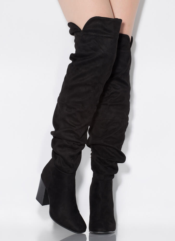 Learn To Slouch Chunky Thigh-High Boots BLACK