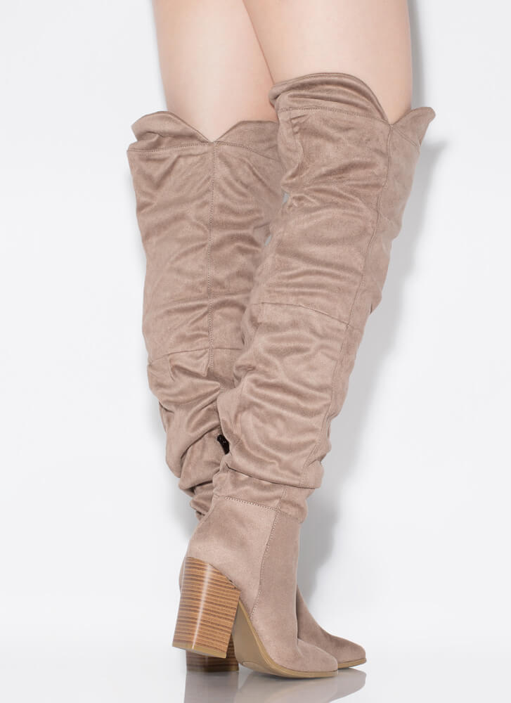Learn To Slouch Chunky Thigh-High Boots TAUPE