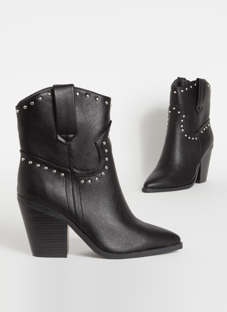 Go Cowgirl Chunky Studded Booties BLACK