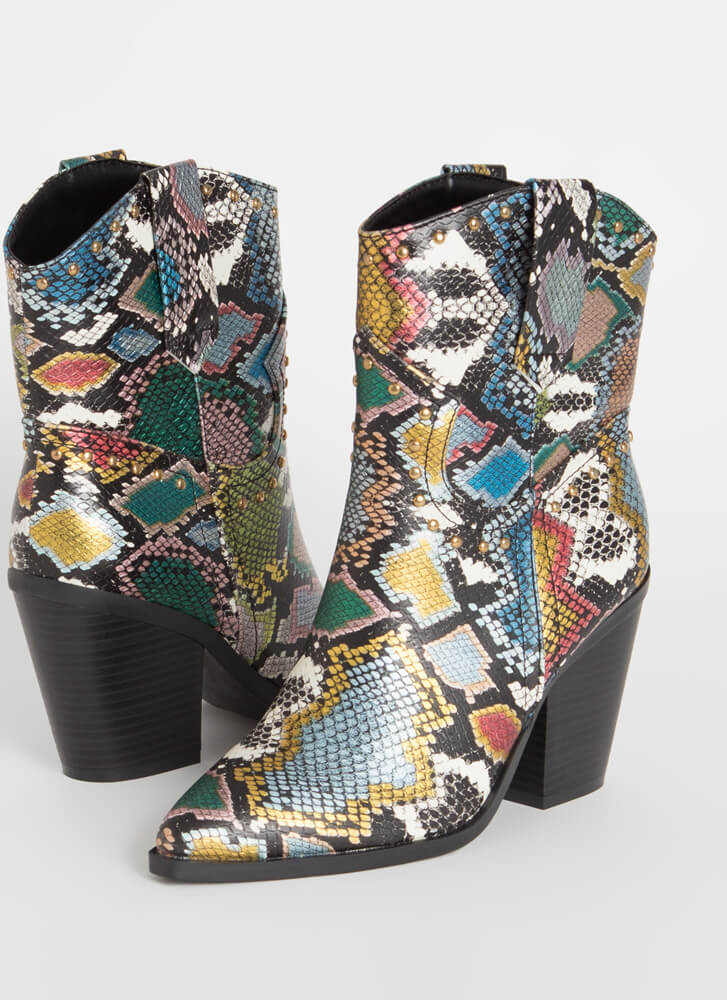 Go Cowgirl Chunky Studded Snake Booties MULTI