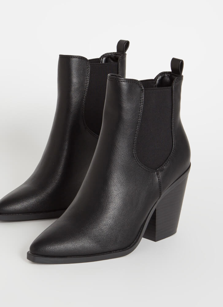 Miss Chelsea Chunky Faux Leather Booties BLACK