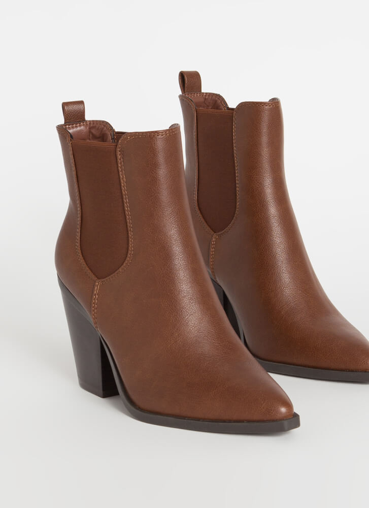 Miss Chelsea Chunky Faux Leather Booties CHESTNUT