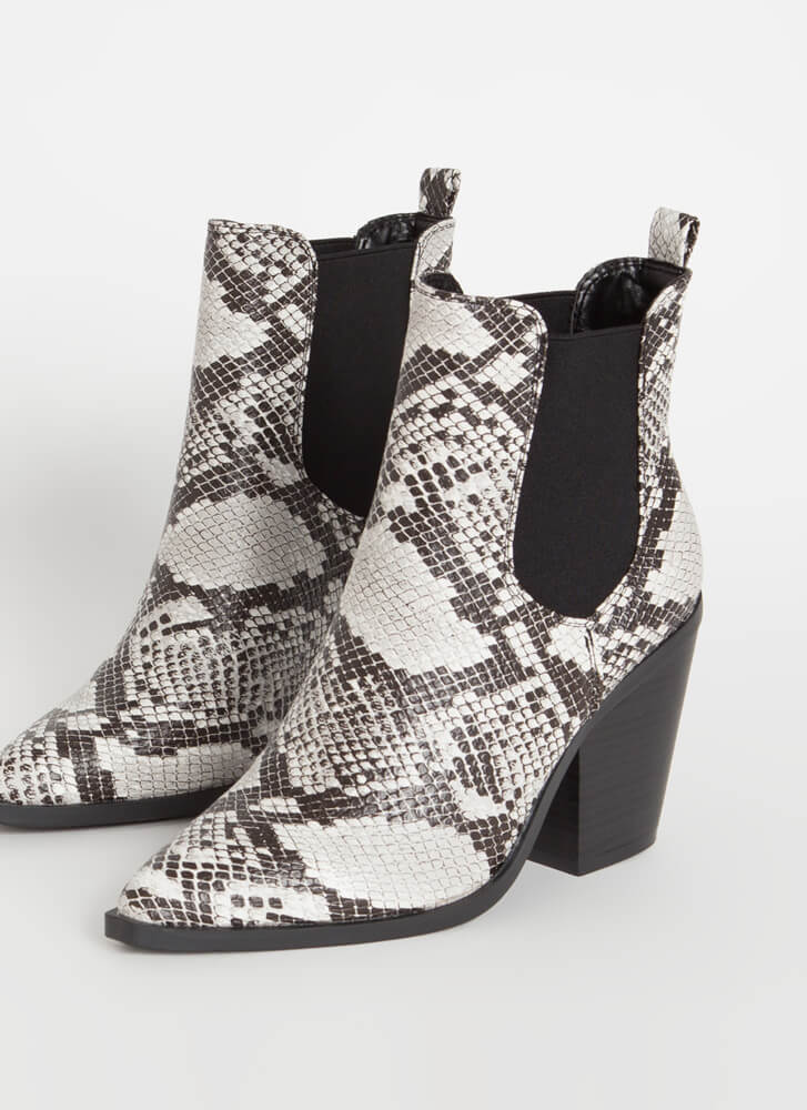 Miss Chelsea Chunky Faux Snake Booties BLACK
