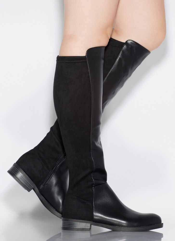 Amaze Me Flat Halved Knee-High Boots BLACK